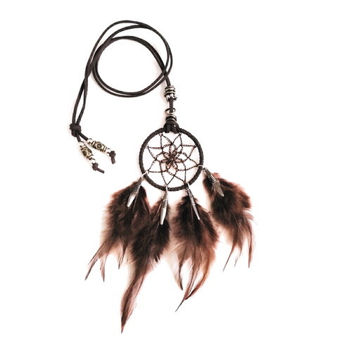 Boho Hippie Dream Catcher feather necklace