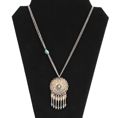 Boho Tribal gold and turquoise medallion arrow head necklace