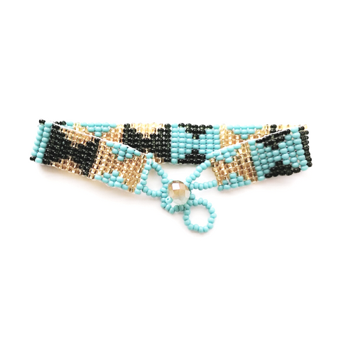 Boho Tribal turquoise beaded bracelet