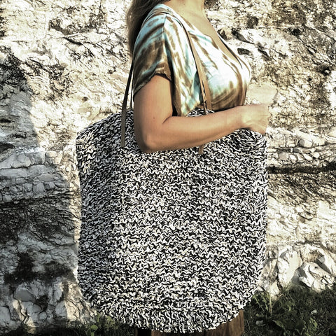 Black & White Straw Tote Bag