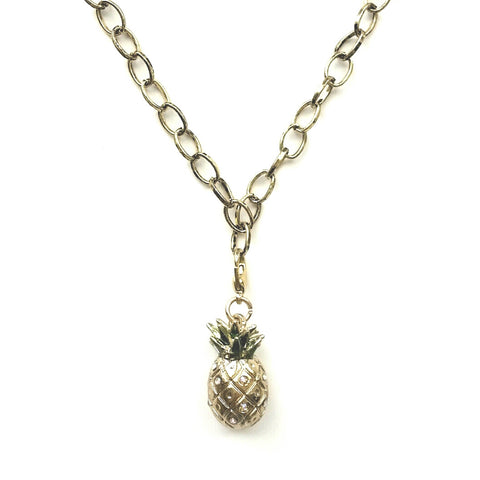 Gold Pineapple 3 Dimensional Charm Necklace