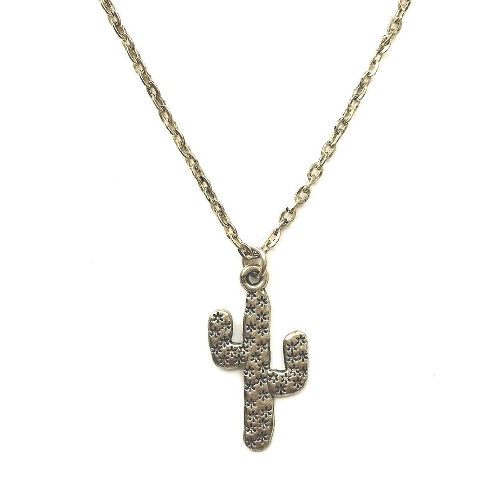 Gold Hammered Saguaro Cactus Charm Necklace