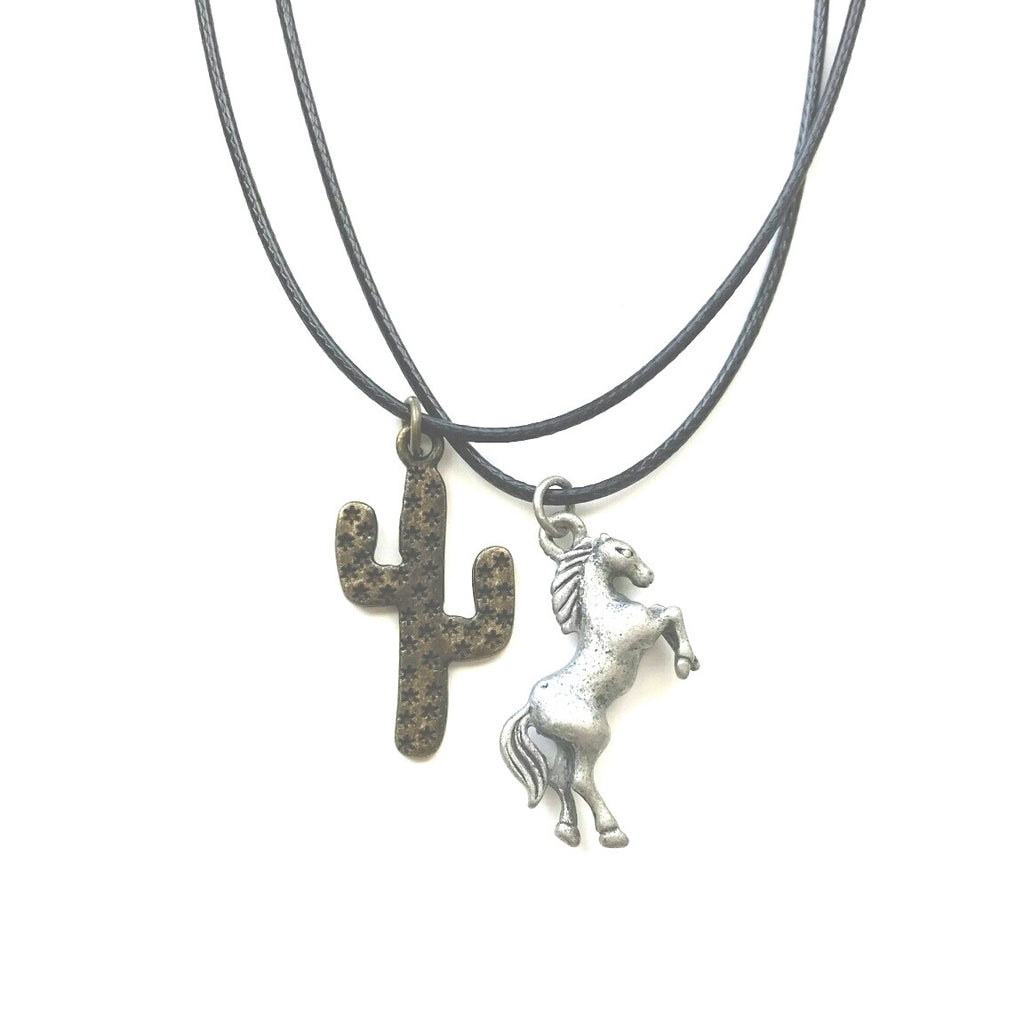 Hammered Saguaro Cactus & Horse Charm Cord Necklace