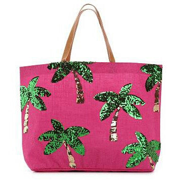 Pink & Green Palm Tree Jute Beach Tote Bag