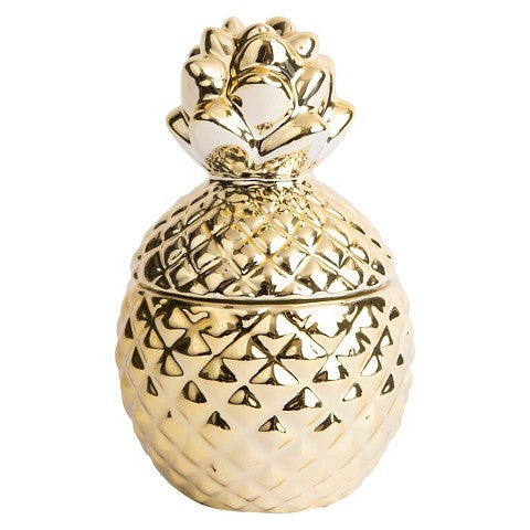 Gold Pineapple Tropical Scented Jar Candle