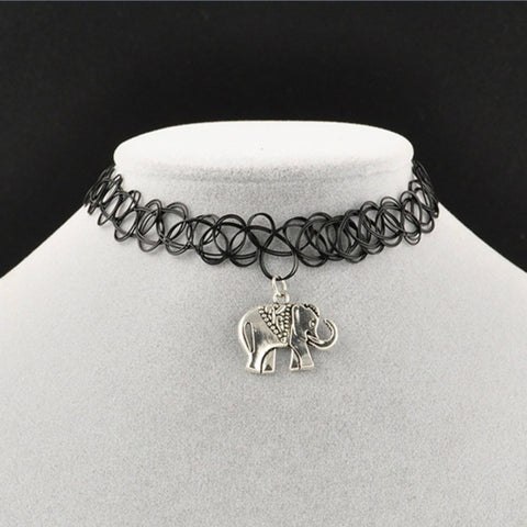 Elephant charm stretch loop choker necklace