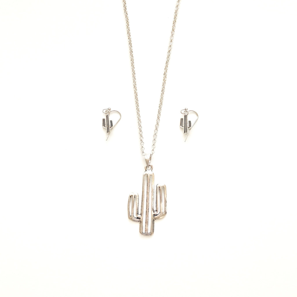 Silver Saguaro Cactus necklace & earrings