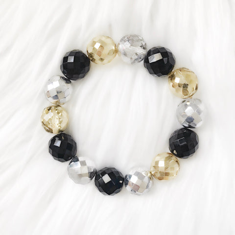 Black and Gold Czech Bead stretch bracelet