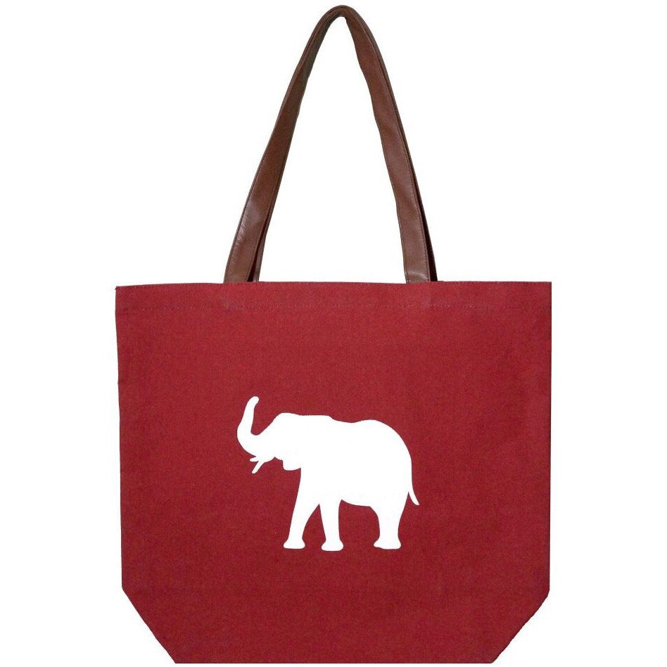 Crimson Red Elephant Waterproof Canvas Tote Bag