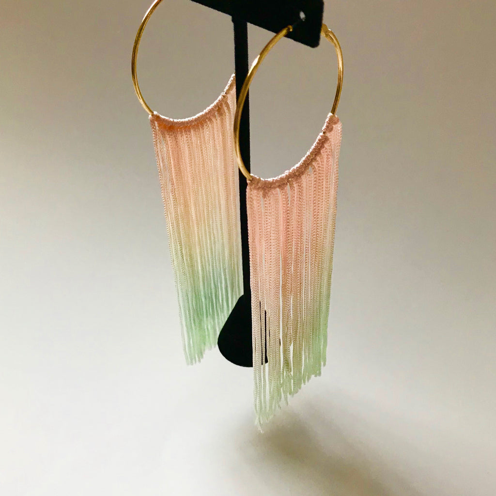 Pink and Green Ombre Tassel and Hoop Earrings