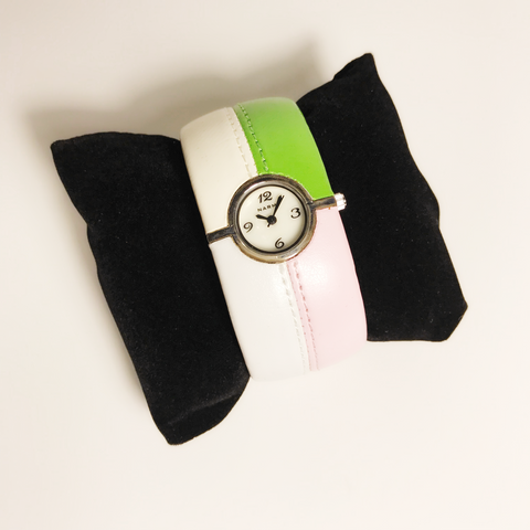 Pink and Green leather bangle ladies watch