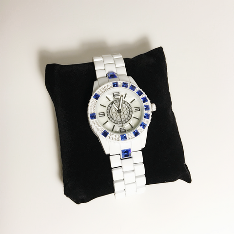 White and Blue designer inspired ladies watch