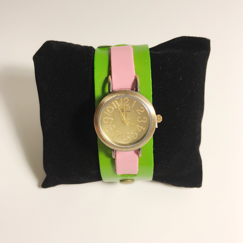Pink and Green leather strap ladies watch