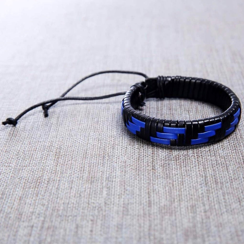 Mens Blue Viper Handmade Leather Bracelet