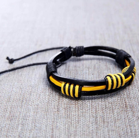 Mens Black and Yellow Ferrari Handmade Leather Bracelet