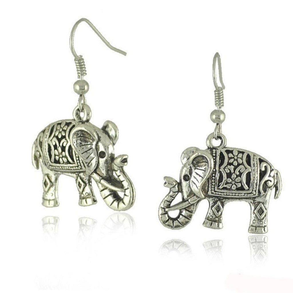 Silver Carved Elephant Earrings