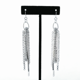 Silver Tassel Drop Earrings