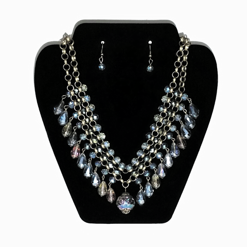 Crystal Bead Collar Necklace and Earrings Set