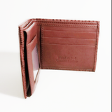 Men's red lizard embossed leather bifold wallet
