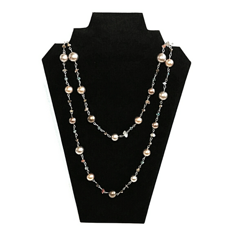 Gold pearl and crystal long bead necklace