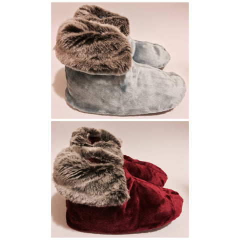 Soft Velour and Faux Fur Berber Boot Slippers