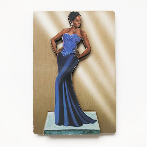Blue Lady wood magnet