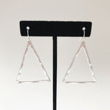 Silver Hammered Triangle Drop Earrings