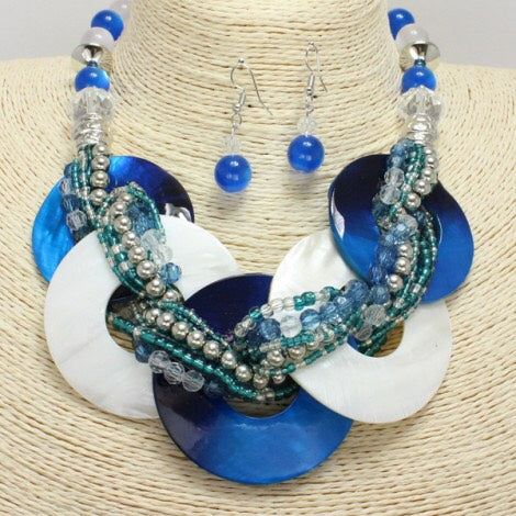 Royal Blue and White Mother Of Pearl Shell Collar Necklace and Earrings Set