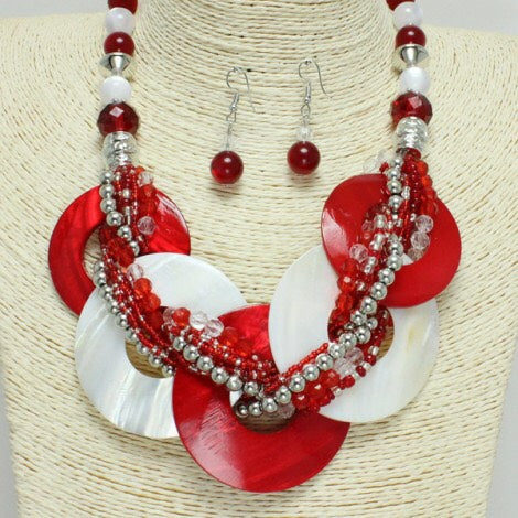 Red and White Mother Of Pearl Shell Collar Necklace and Earrings Set