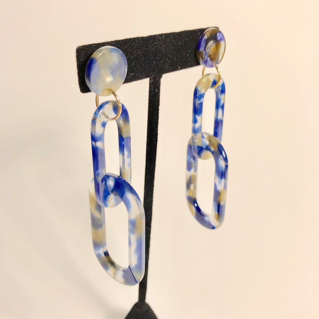 Blue and Gold marble acrylic link dangle earrings