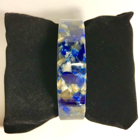 Blue and Gold marble acrylic bangle bracelet