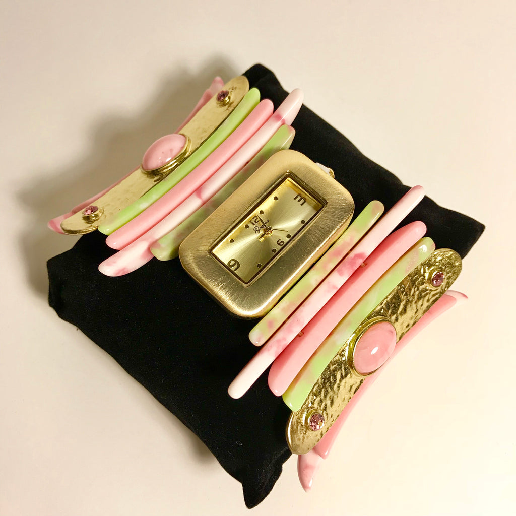 Pink and Green linked shell bracelet watch