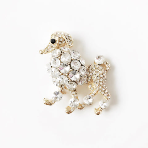 Gold Rhinestone Poodle Brooch Pin