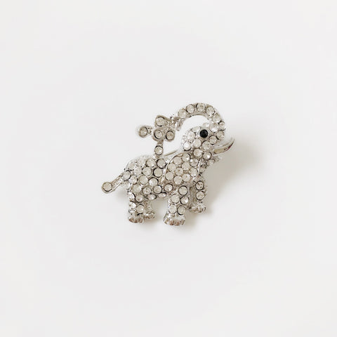 Small Elephant Rhinestone Brooch Pin