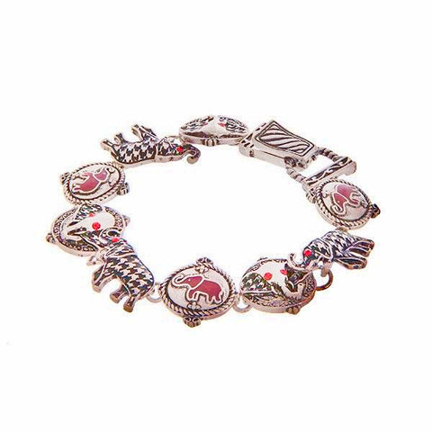 Red Silver Elephant Houndstooth Charm Bracelet
