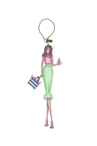 Winks Fashionista Pink and Green Birthday Girl Charm Ornament
