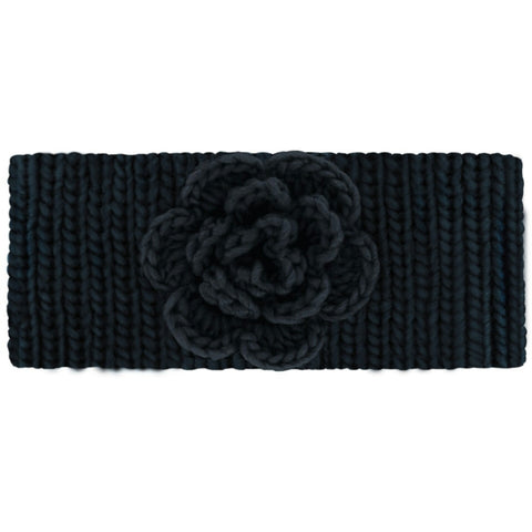 Women's black cable knit head warmer