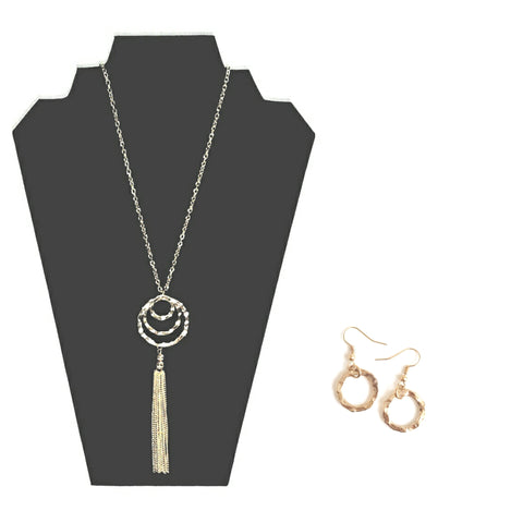 Gold circle and tassel necklace and earrings set