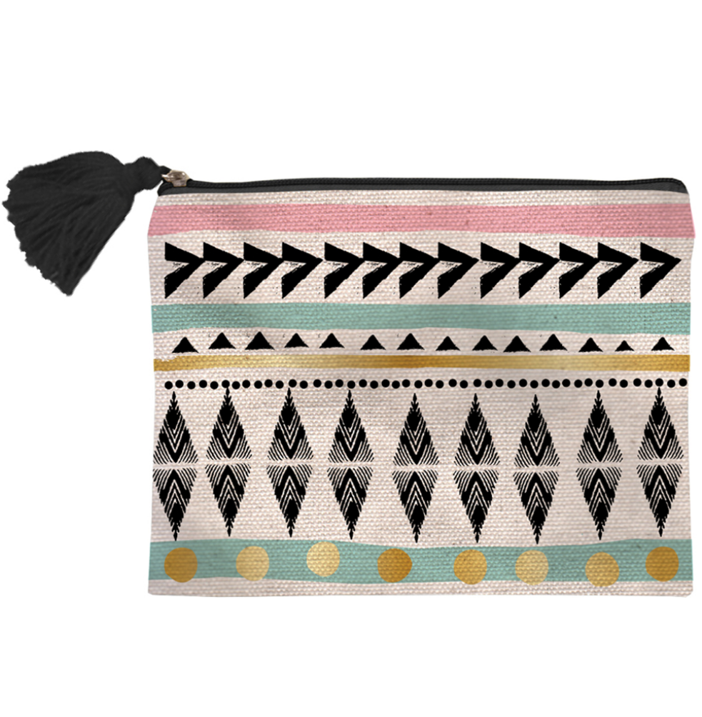 Boho tribal pattern canvas pouch bag
