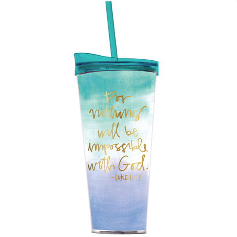 For Nothing Will Be Impossible With God travel tumbler with straw