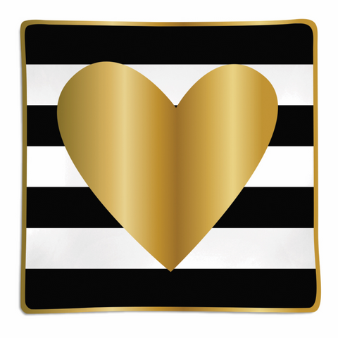 Gold Heart Black White Stripe Trinket Tray