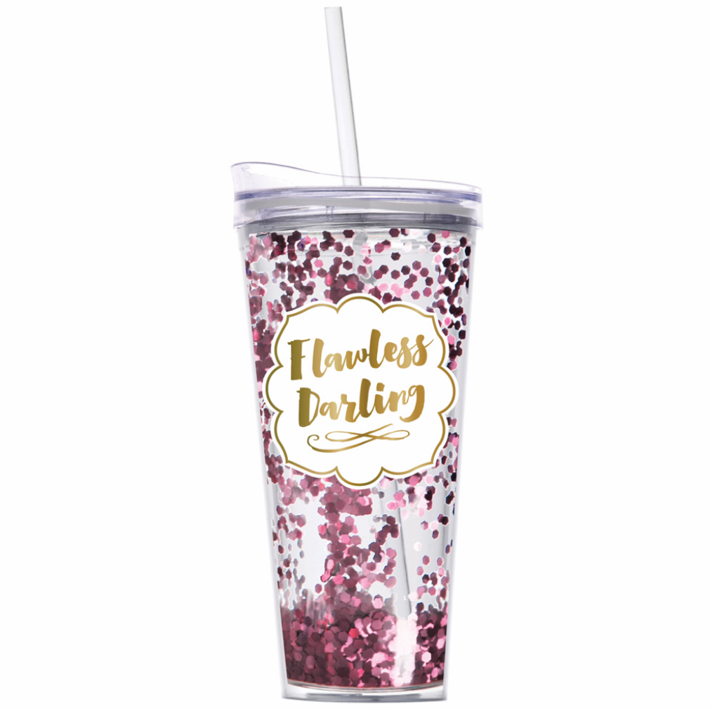 Flawless Darling travel tumbler with straw