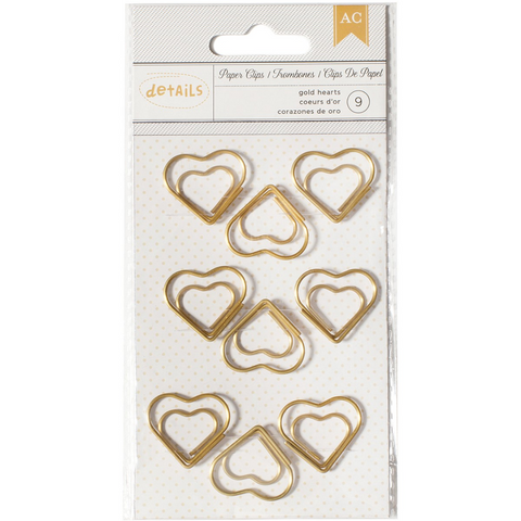 Gold Heart Jumbo Paper Clips