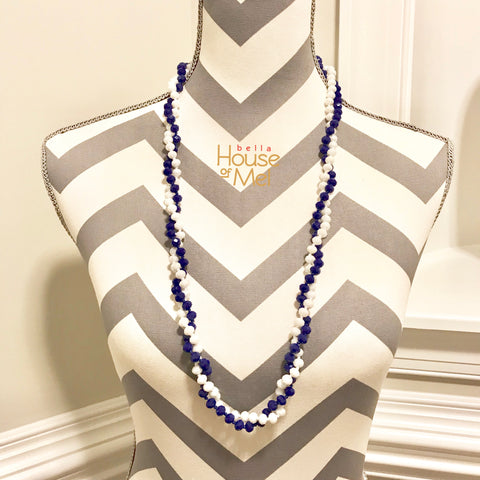 Royal Blue and White Crystal Rhinestone Bead Necklace