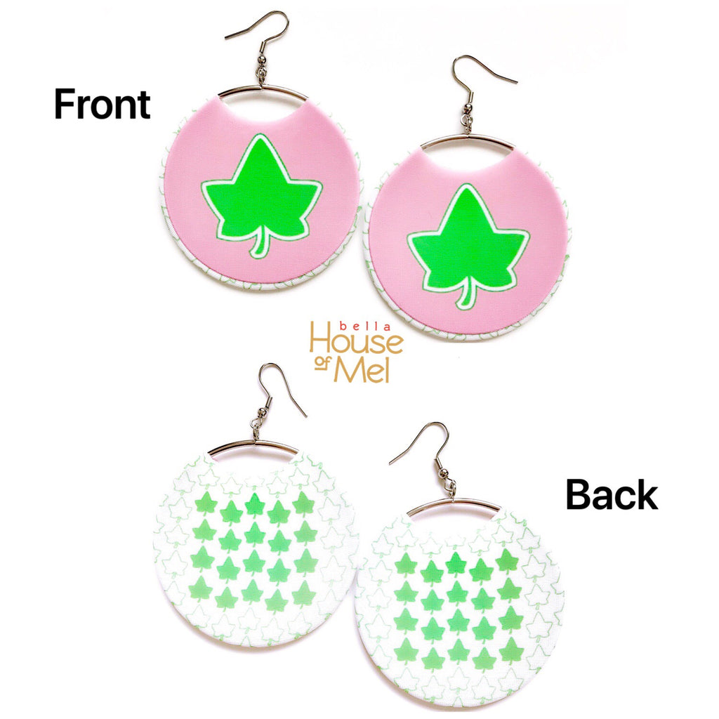 Pink & Green Ivy Spirit Hoops Earrings