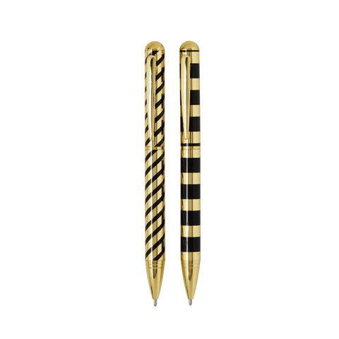 Black and Gold stripe pen set