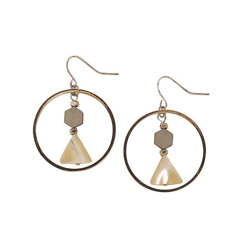 Bops Shell Hex and Triangle drop hoop earrings