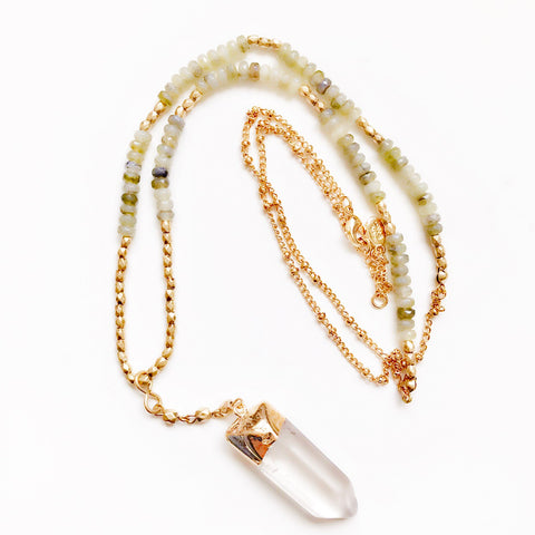 Clear crystal quartz and bead necklace