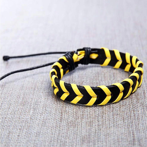 Mens Black and Yellow Shelby Handmade Leather Bracelet