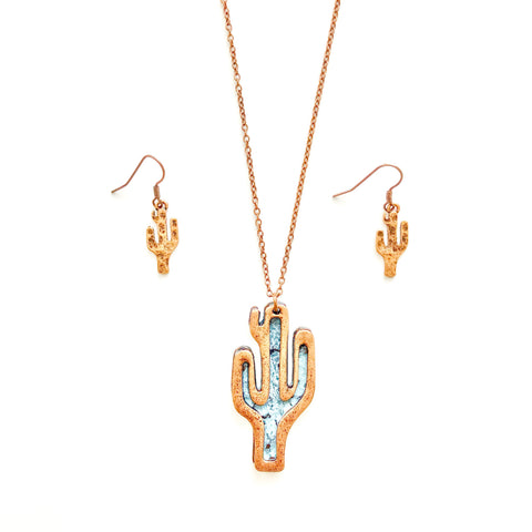 Copper Gold and Turquoise Saguaro Cactus necklace & earrings
